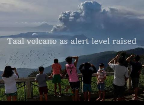 Lava Gushes from Taal volcano as alert level Raised Watch Video
