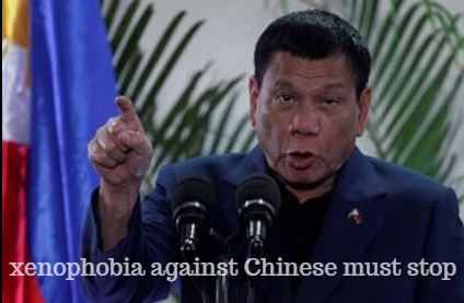 President Duterte says xenophobia against Chinese must stop